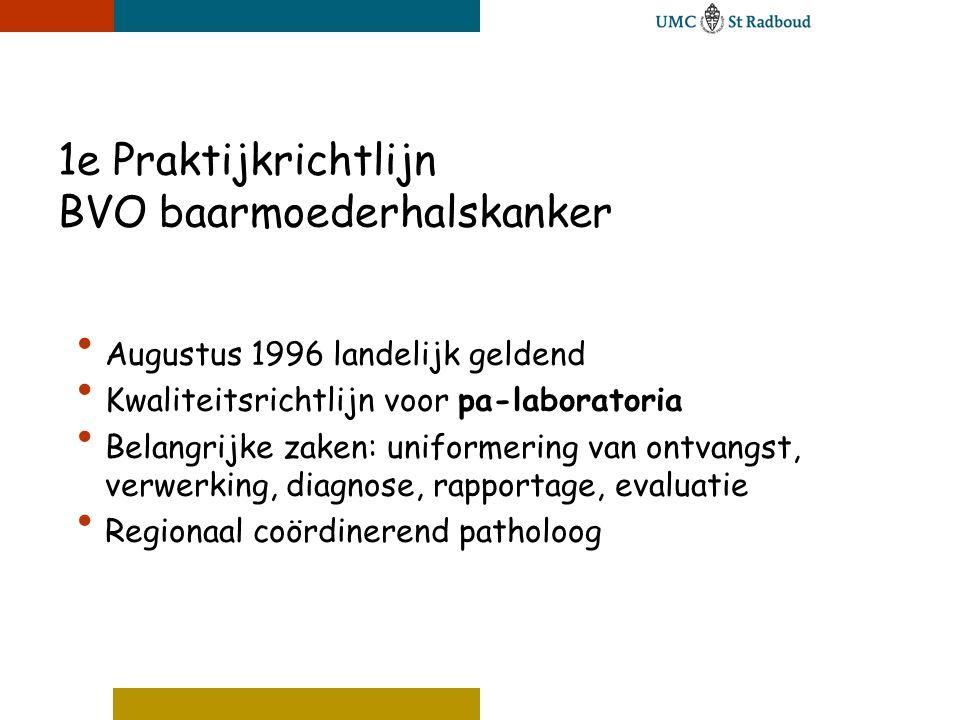 1e Praktijkrichtlijn BVO baarmoederhalskanker • Augustus 1996 landelijk geldend • Kwaliteitsrichtlijn voor pa-laboratoria • Belangrijke zaken: uniform