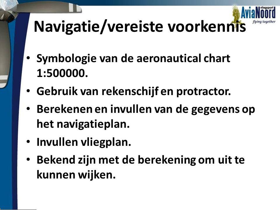 Navigatie/vereiste voorkennis • Symbologie van de aeronautical chart 1:500000. • Gebruik van rekenschijf en protractor. • Berekenen en invullen van de
