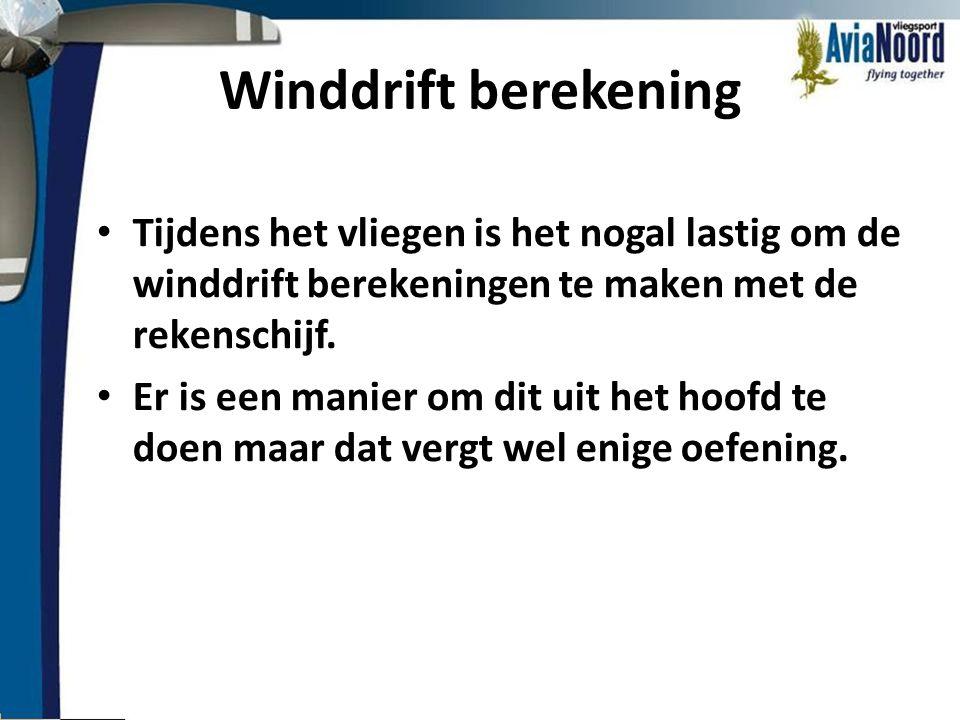 Winddrift berekening • Tijdens het vliegen is het nogal lastig om de winddrift berekeningen te maken met de rekenschijf. • Er is een manier om dit uit