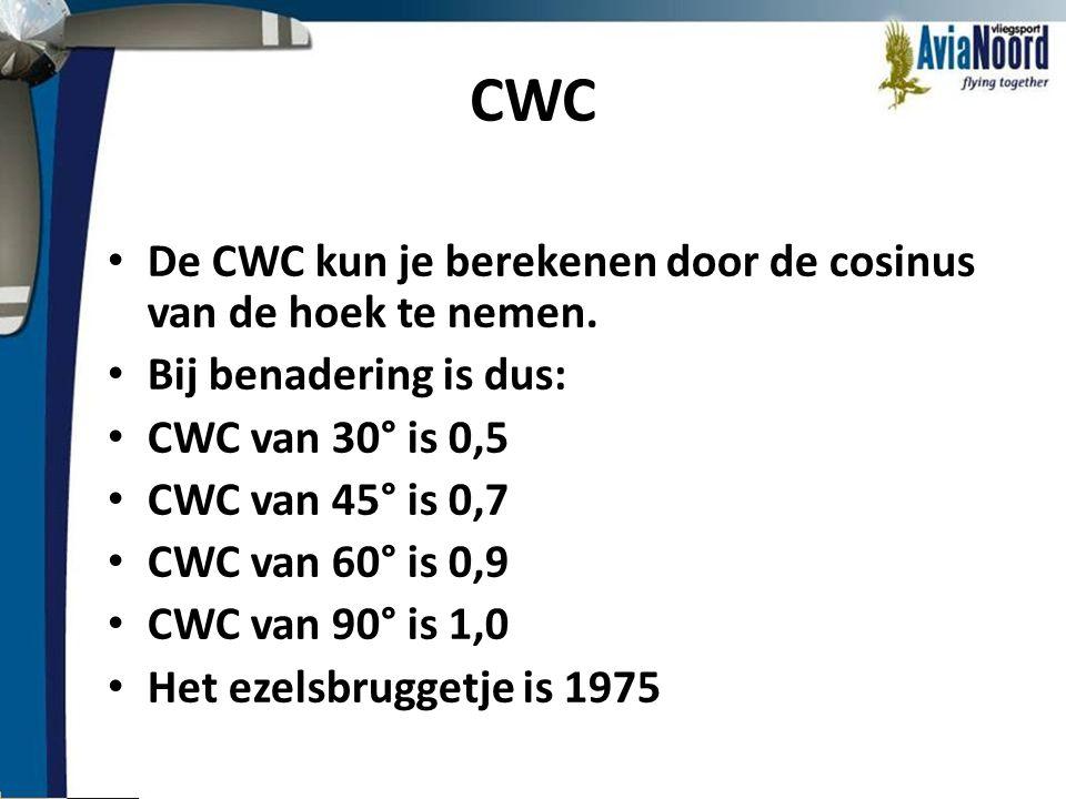 CWC • De CWC kun je berekenen door de cosinus van de hoek te nemen. • Bij benadering is dus: • CWC van 30° is 0,5 • CWC van 45° is 0,7 • CWC van 60° i