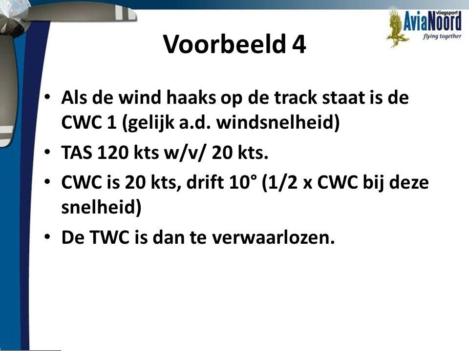 Voorbeeld 4 • Als de wind haaks op de track staat is de CWC 1 (gelijk a.d. windsnelheid) • TAS 120 kts w/v/ 20 kts. • CWC is 20 kts, drift 10° (1/2 x