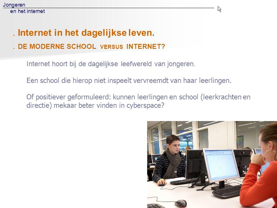 Jongeren en het internet. DE MODERNE SCHOOL VERSUS INTERNET? Internet hoort bij de dagelijkse leefwereld van jongeren. Een school die hierop niet insp