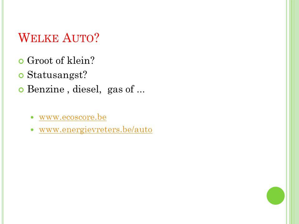 W ELKE A UTO ? Groot of klein? Statusangst? Benzine, diesel, gas of...  www.ecoscore.be www.ecoscore.be  www.energievreters.be/auto www.energievrete