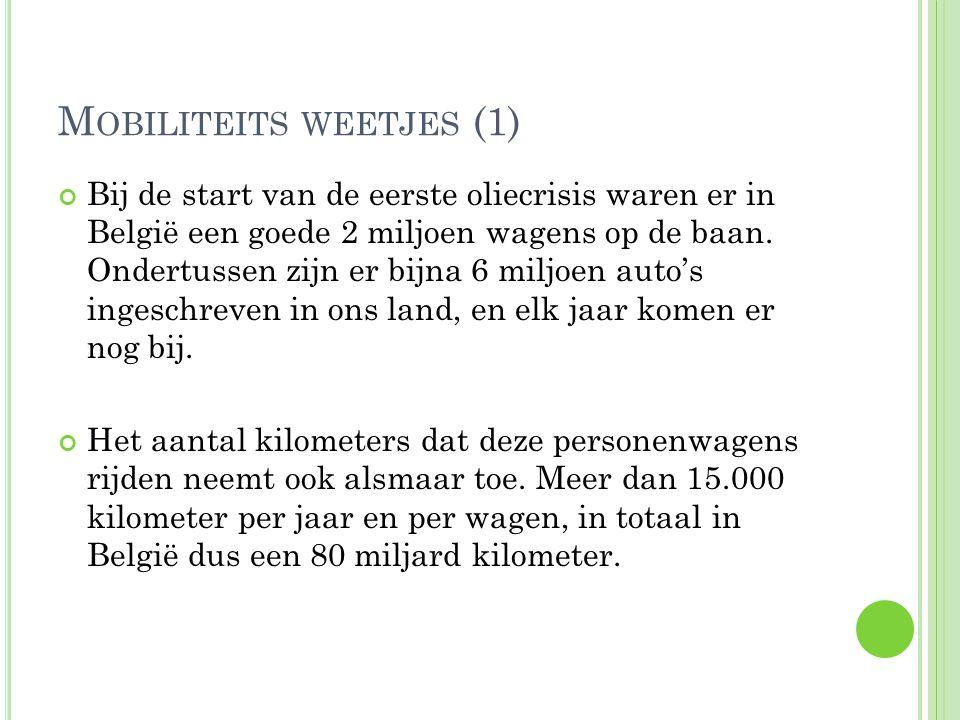 M OBILITEITS WEETJES (1) Bij de start van de eerste oliecrisis waren er in België een goede 2 miljoen wagens op de baan. Ondertussen zijn er bijna 6 m