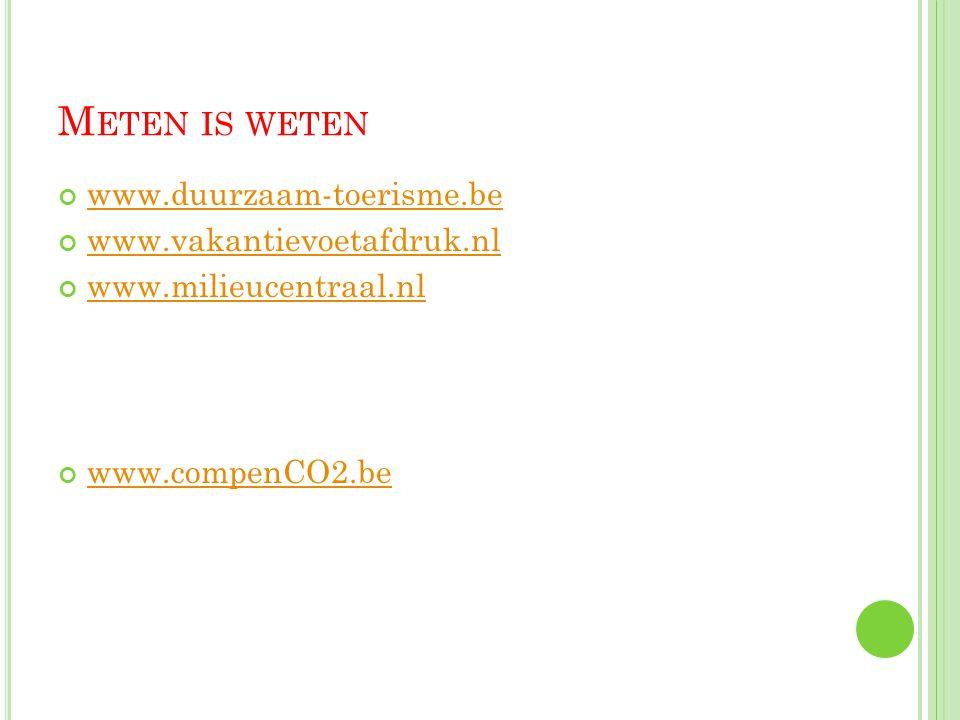 M ETEN IS WETEN www.duurzaam-toerisme.be www.vakantievoetafdruk.nl www.milieucentraal.nl www.compenCO2.be