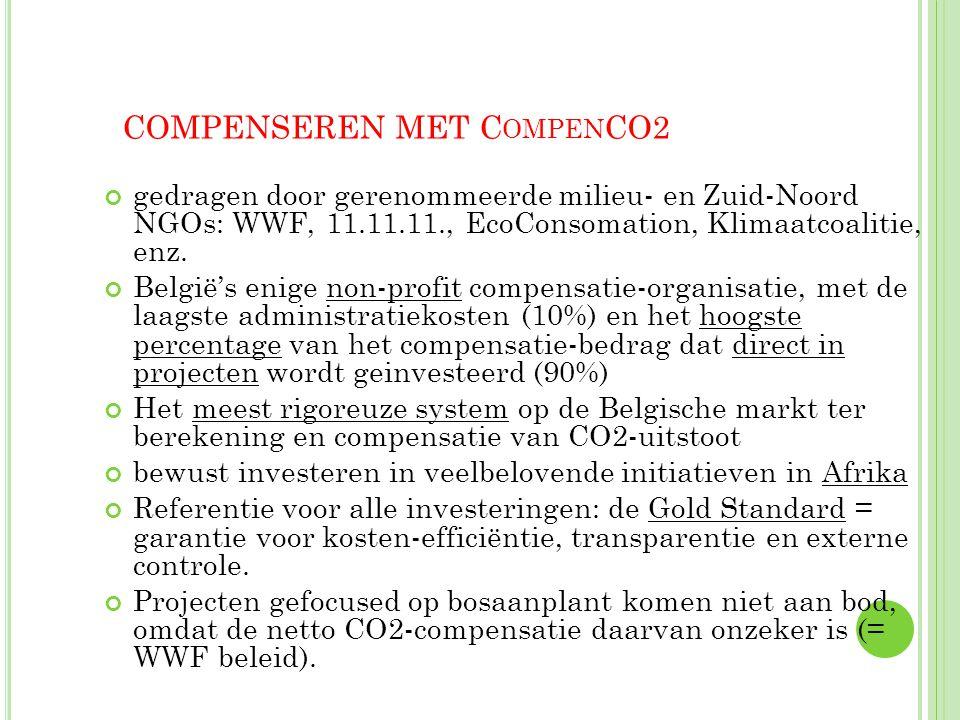 32 COMPENSEREN MET C OMPEN CO2 gedragen door gerenommeerde milieu- en Zuid-Noord NGOs: WWF, 11.11.11., EcoConsomation, Klimaatcoalitie, enz. België's