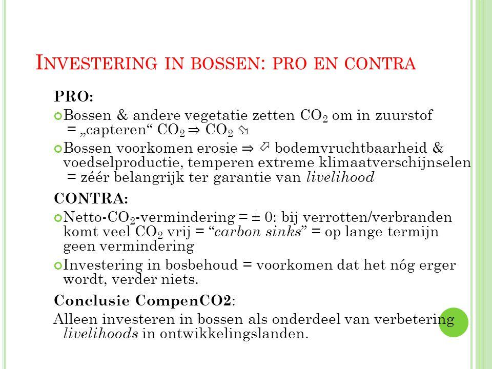 """34 I NVESTERING IN BOSSEN : PRO EN CONTRA PRO: Bossen & andere vegetatie zetten CO 2 om in zuurstof = """"capteren"""" CO 2 ⇒ CO 2  Bossen voorkomen erosie"""