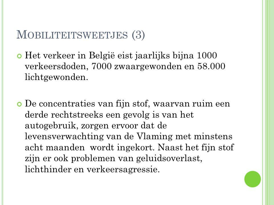 M OBILITEITSWEETJES (3) Het verkeer in België eist jaarlijks bijna 1000 verkeersdoden, 7000 zwaargewonden en 58.000 lichtgewonden. De concentraties va