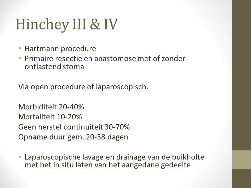 Hinchey III & IV • Hartmann procedure • Primaire resectie en anastomose met of zonder ontlastend stoma Via open procedure of laparoscopisch. Morbidite