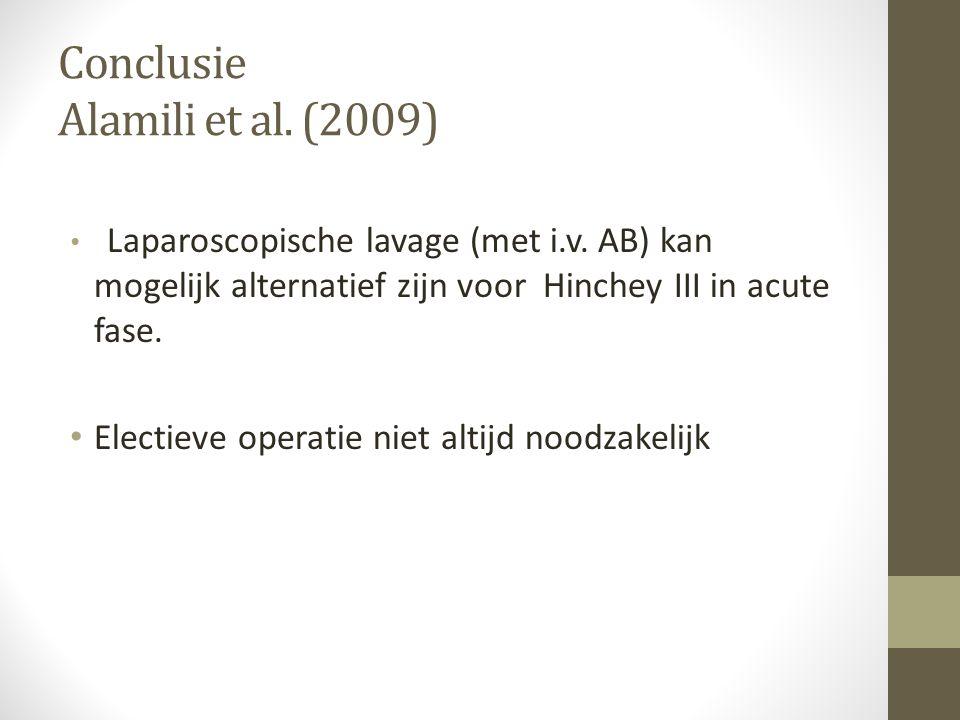 Conclusie Alamili et al. (2009) • Laparoscopische lavage (met i.v. AB) kan mogelijk alternatief zijn voor Hinchey III in acute fase. • Electieve opera