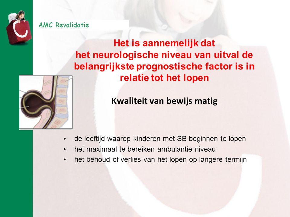 AMC Revalidatie Het is aannemelijk dat het neurologische niveau van uitval de belangrijkste prognostische factor is in relatie tot het lopen Kwaliteit