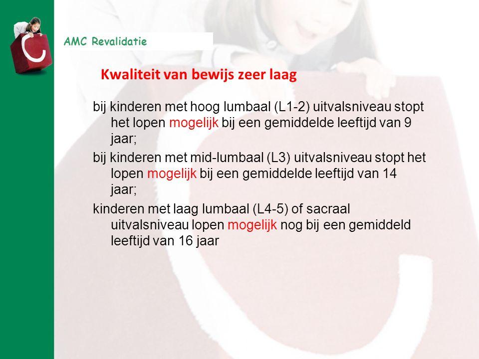 AMC Revalidatie Kwaliteit van bewijs zeer laag bij kinderen met hoog lumbaal (L1-2) uitvalsniveau stopt het lopen mogelijk bij een gemiddelde leeftijd