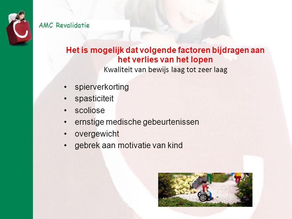 AMC Revalidatie Het is mogelijk dat volgende factoren bijdragen aan het verlies van het lopen Kwaliteit van bewijs laag tot zeer laag •spierverkorting