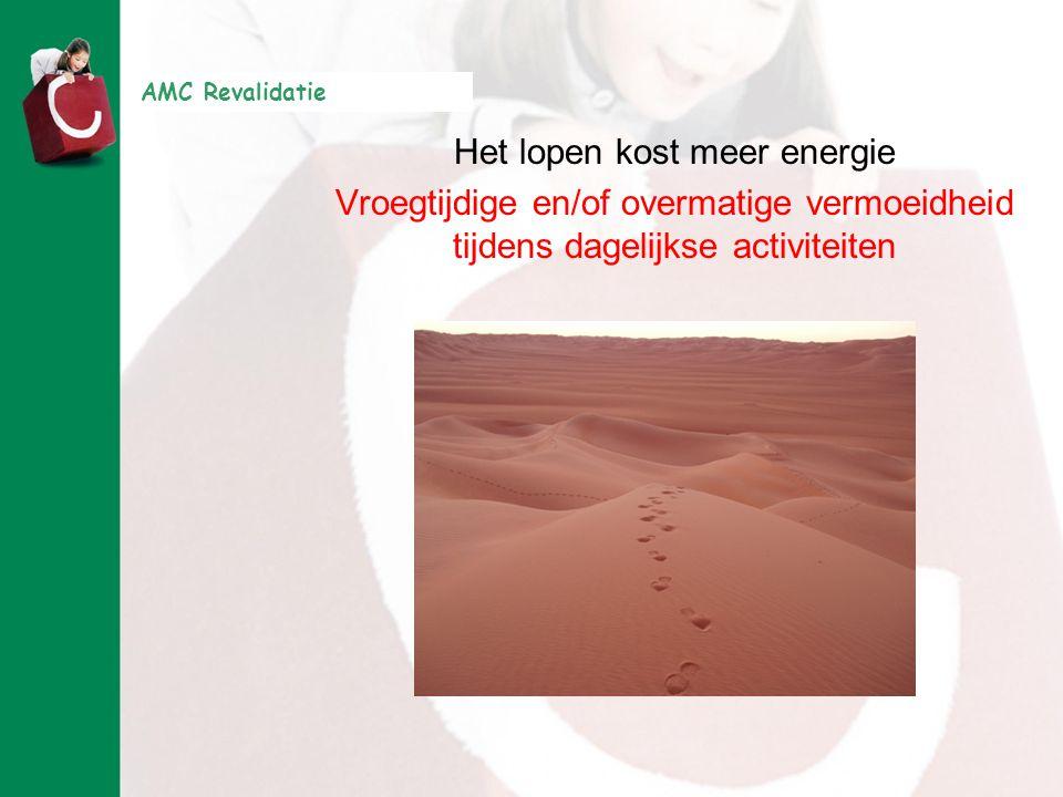 AMC Revalidatie Het lopen kost meer energie Vroegtijdige en/of overmatige vermoeidheid tijdens dagelijkse activiteiten