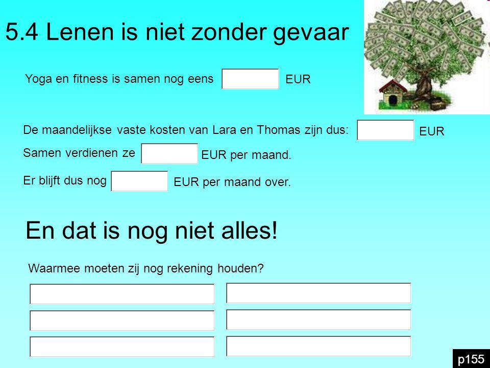 5.4 Lenen is niet zonder gevaar p155 Yoga en fitness is samen nog eens EUR De maandelijkse vaste kosten van Lara en Thomas zijn dus: EUR Samen verdien