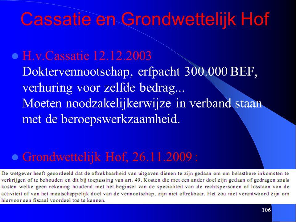 106 Cassatie en Grondwettelijk Hof  H.v.Cassatie 12.12.2003 Doktervennootschap, erfpacht 300.000 BEF, verhuring voor zelfde bedrag... Moeten noodzake