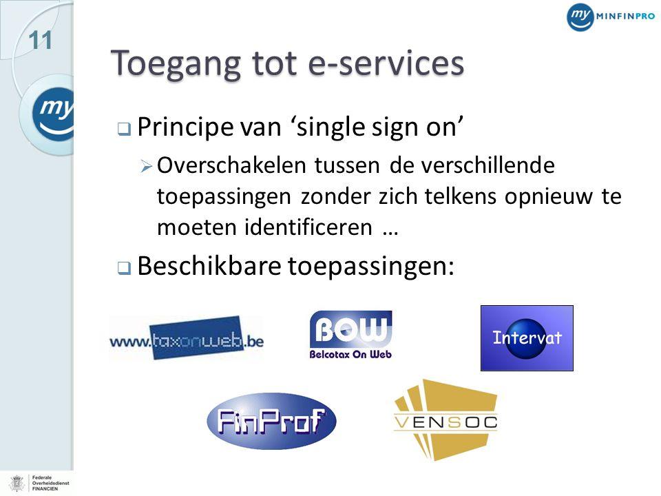 11 Toegang tot e-services  Principe van 'single sign on'  Overschakelen tussen de verschillende toepassingen zonder zich telkens opnieuw te moeten identificeren …  Beschikbare toepassingen: