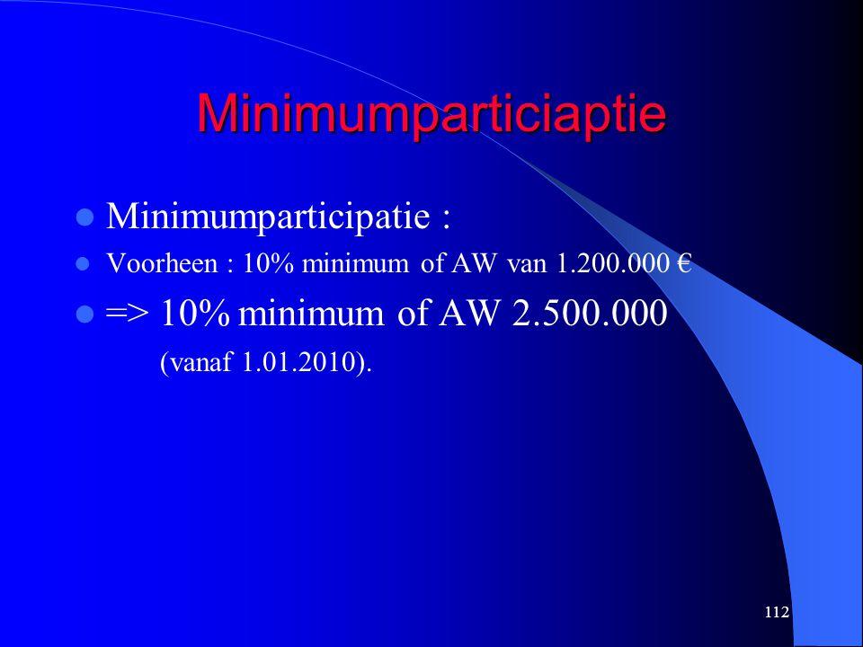 112 Minimumparticiaptie  Minimumparticipatie :  Voorheen : 10% minimum of AW van 1.200.000 €  => 10% minimum of AW 2.500.000 (vanaf 1.01.2010).