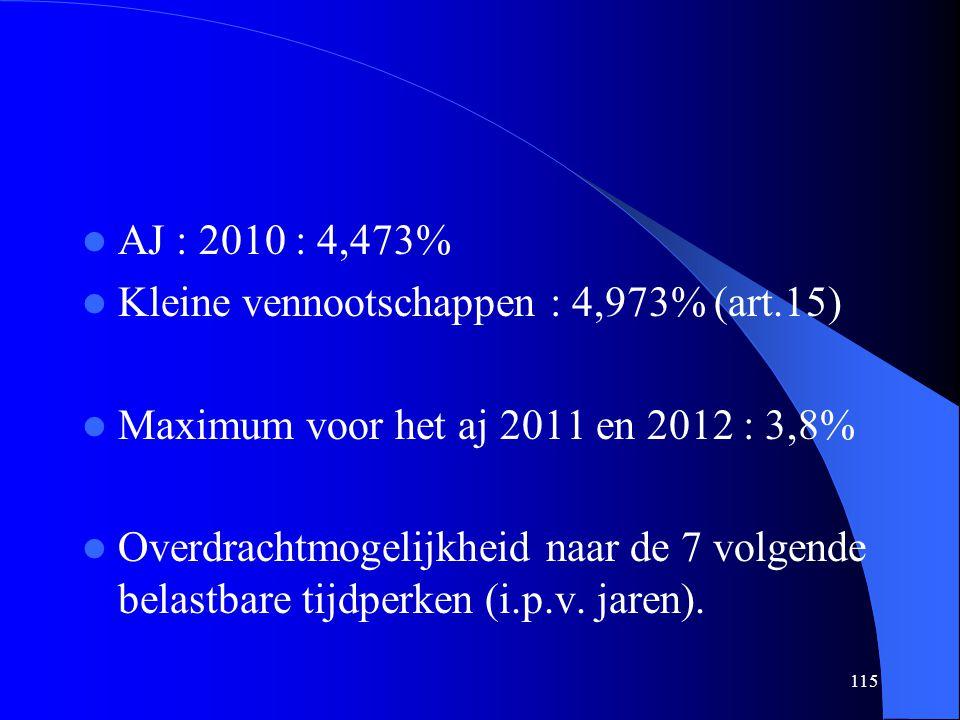 115  AJ : 2010 : 4,473%  Kleine vennootschappen : 4,973% (art.15)  Maximum voor het aj 2011 en 2012 : 3,8%  Overdrachtmogelijkheid naar de 7 volgende belastbare tijdperken (i.p.v.