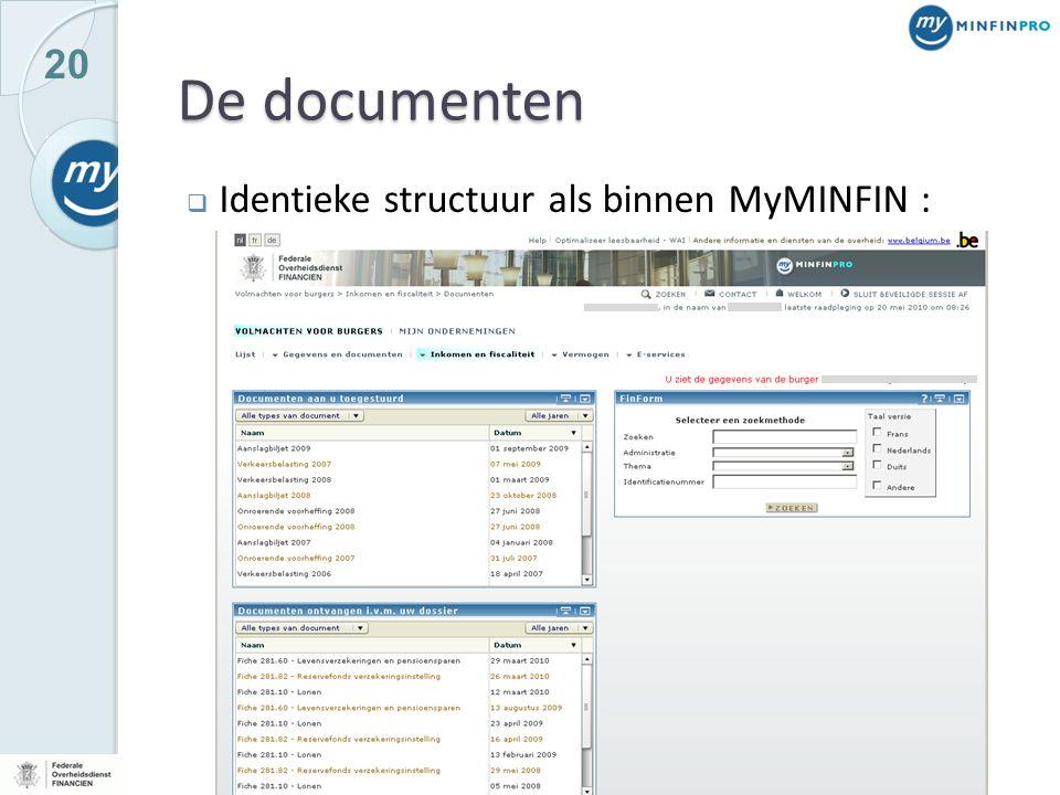 20 De documenten  Identieke structuur als binnen MyMINFIN :