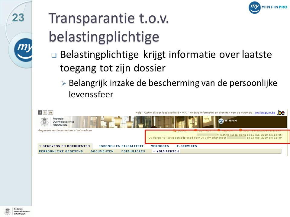 23 Transparantie t.o.v. belastingplichtige  Belastingplichtige krijgt informatie over laatste toegang tot zijn dossier  Belangrijk inzake de bescher