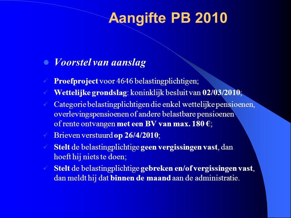  Voorstel van aanslag  Proefproject voor 4646 belastingplichtigen;  Wettelijke grondslag: koninklijk besluit van 02/03/2010;  Categorie belastingplichtigen die enkel wettelijke pensioenen, overlevingspensioenen of andere belastbare pensioenen of rente ontvangen met een BV van max.