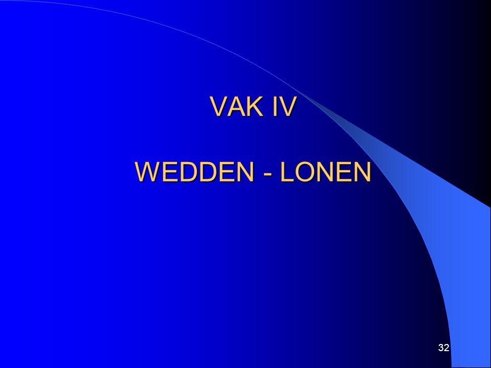 32 VAK IV WEDDEN - LONEN