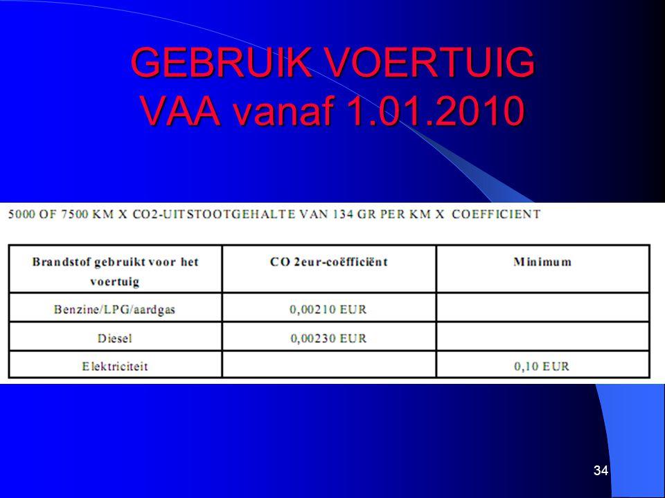 GEBRUIK VOERTUIG VAA vanaf 1.01.2010 34