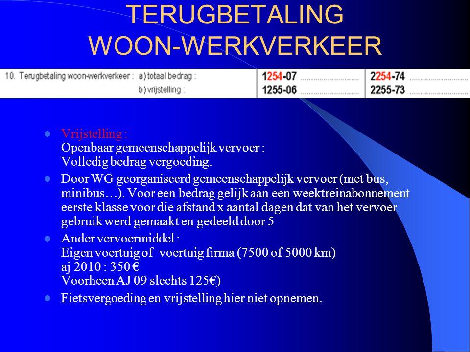 TERUGBETALING WOON-WERKVERKEER  Vrijstelling : Openbaar gemeenschappelijk vervoer : Volledig bedrag vergoeding.  Door WG georganiseerd gemeenschappe