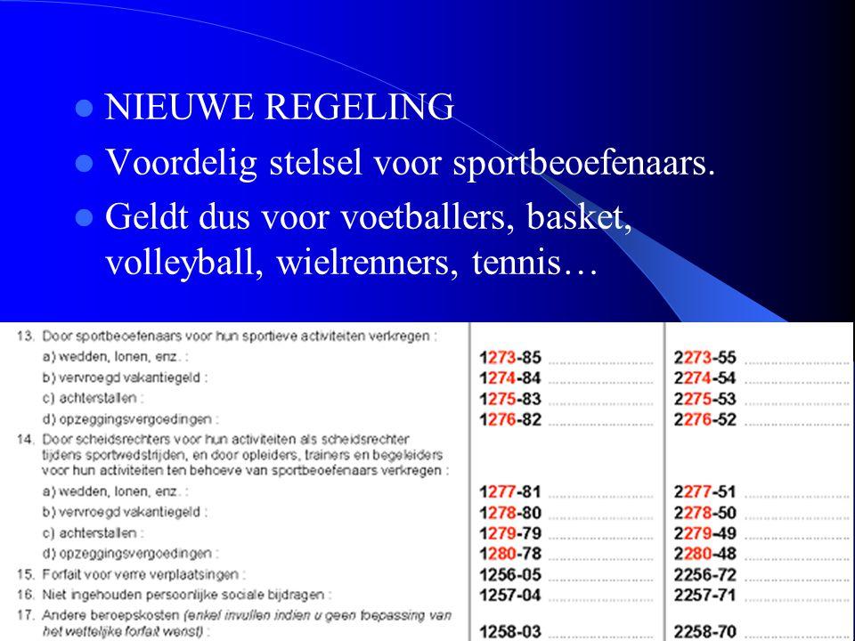 39  NIEUWE REGELING  Voordelig stelsel voor sportbeoefenaars.  Geldt dus voor voetballers, basket, volleyball, wielrenners, tennis…