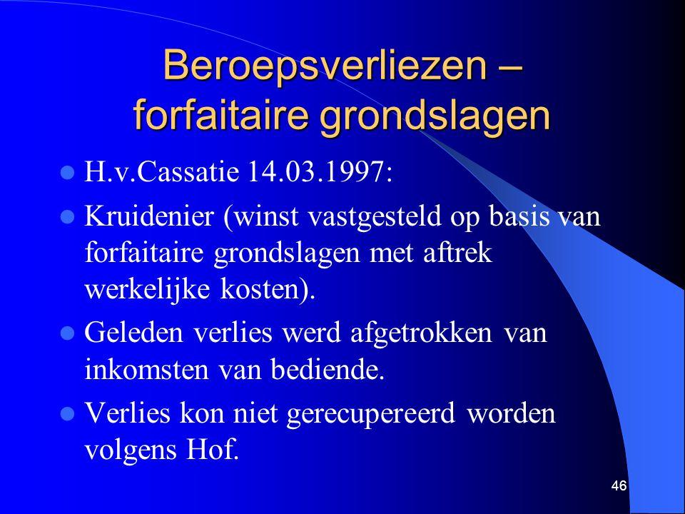 Beroepsverliezen – forfaitaire grondslagen  H.v.Cassatie 14.03.1997:  Kruidenier (winst vastgesteld op basis van forfaitaire grondslagen met aftrek werkelijke kosten).