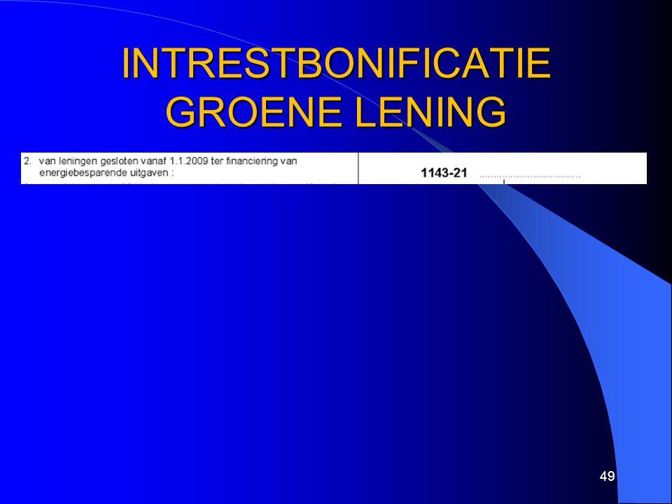INTRESTBONIFICATIE GROENE LENING 49