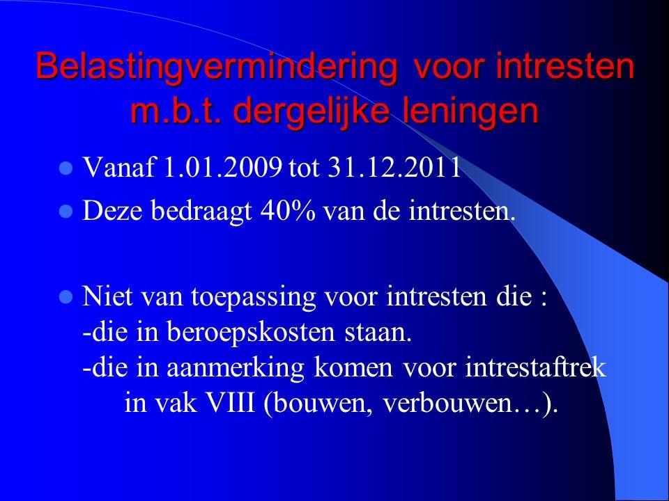 Belastingvermindering voor intresten m.b.t.