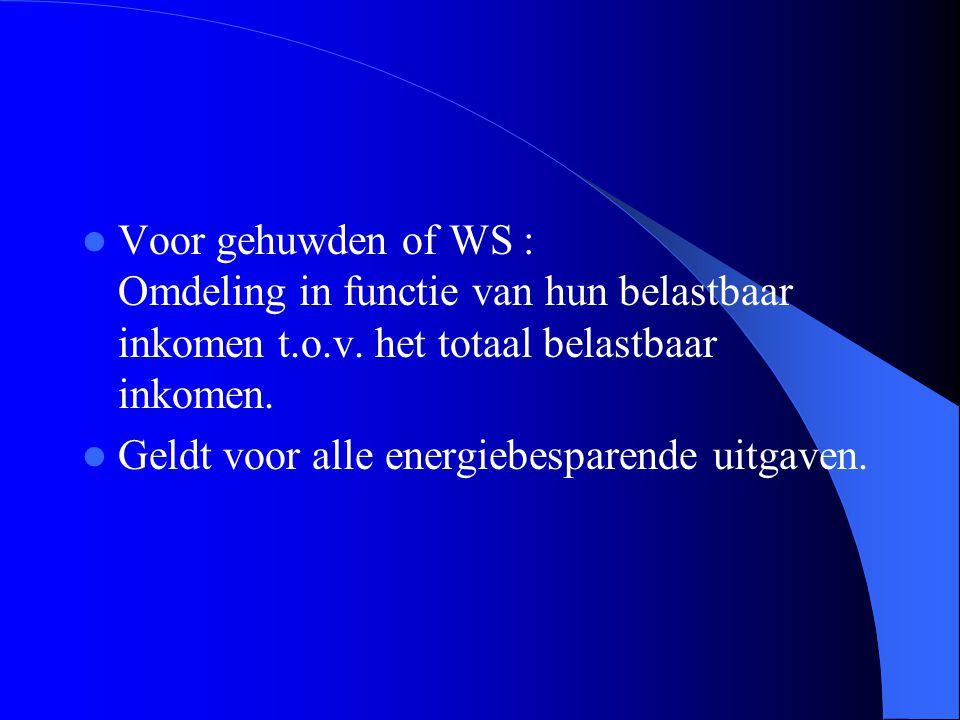  Voor gehuwden of WS : Omdeling in functie van hun belastbaar inkomen t.o.v.