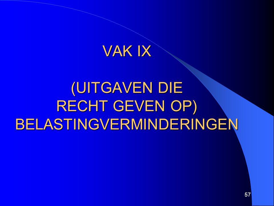 57 VAK IX (UITGAVEN DIE RECHT GEVEN OP) BELASTINGVERMINDERINGEN