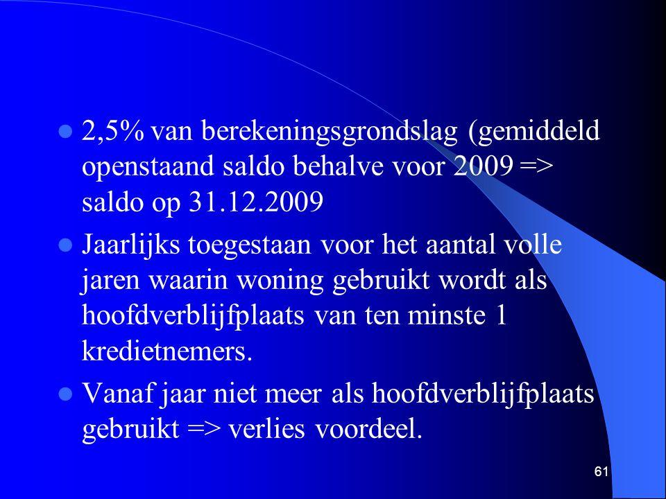  2,5% van berekeningsgrondslag (gemiddeld openstaand saldo behalve voor 2009 => saldo op 31.12.2009  Jaarlijks toegestaan voor het aantal volle jaren waarin woning gebruikt wordt als hoofdverblijfplaats van ten minste 1 kredietnemers.