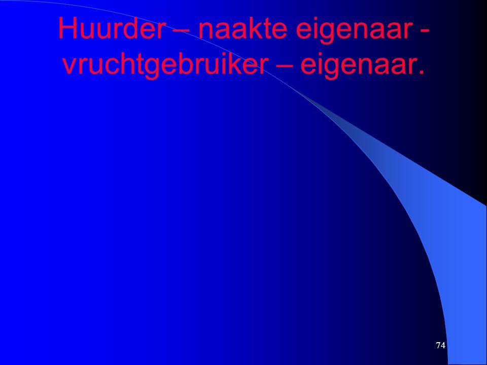 74 Huurder – naakte eigenaar - vruchtgebruiker – eigenaar.