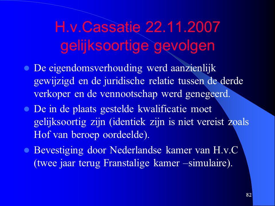 82 H.v.Cassatie 22.11.2007 gelijksoortige gevolgen  De eigendomsverhouding werd aanzienlijk gewijzigd en de juridische relatie tussen de derde verkoper en de vennootschap werd genegeerd.