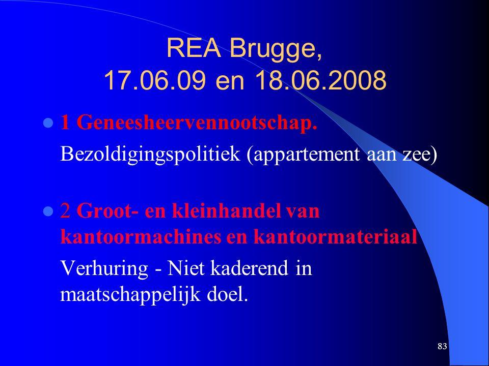 83 REA Brugge, 17.06.09 en 18.06.2008  1 Geneesheervennootschap. Bezoldigingspolitiek (appartement aan zee)  2 Groot- en kleinhandel van kantoormach