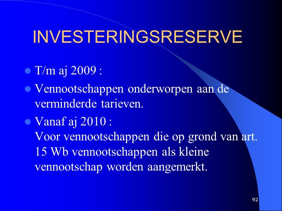 92 INVESTERINGSRESERVE  T/m aj 2009 :  Vennootschappen onderworpen aan de verminderde tarieven.  Vanaf aj 2010 : Voor vennootschappen die op grond