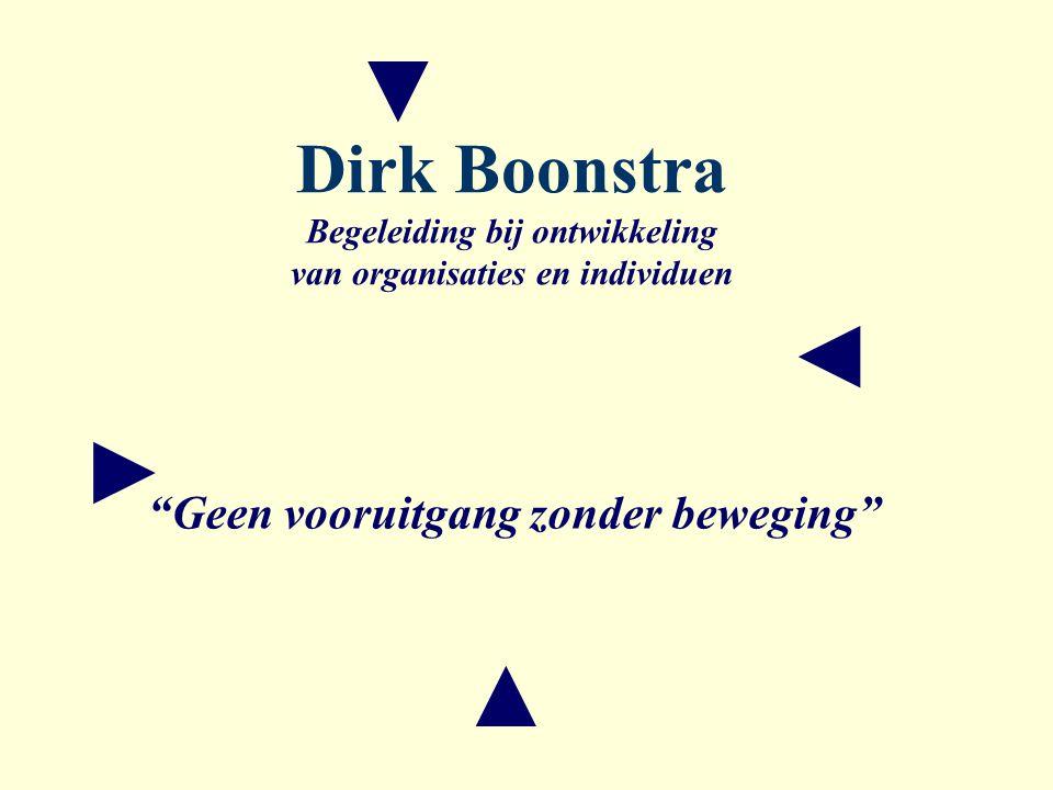 ▼ ◄ ► ▲ Dirk Boonstra Begeleiding bij ontwikkeling van organisaties en individuen Geen vooruitgang zonder beweging