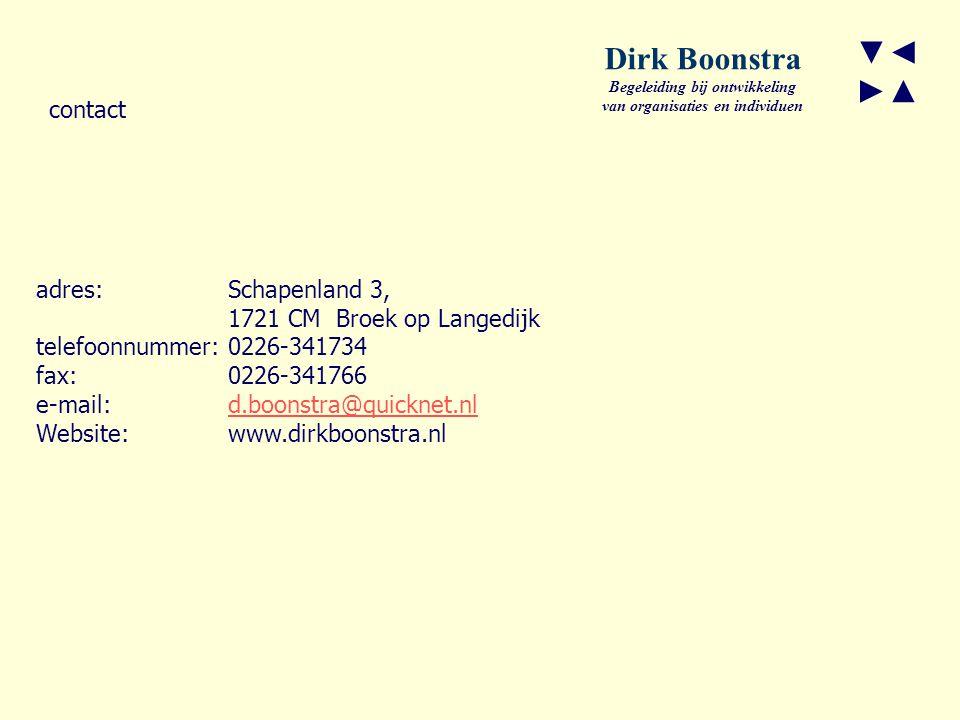 ▼◄ ►▲ Dirk Boonstra Begeleiding bij ontwikkeling van organisaties en individuen adres:Schapenland 3, 1721 CM Broek op Langedijk telefoonnummer: 0226-341734 fax:0226-341766 e-mail: d.boonstra@quicknet.nld.boonstra@quicknet.nl Website:www.dirkboonstra.nl contact