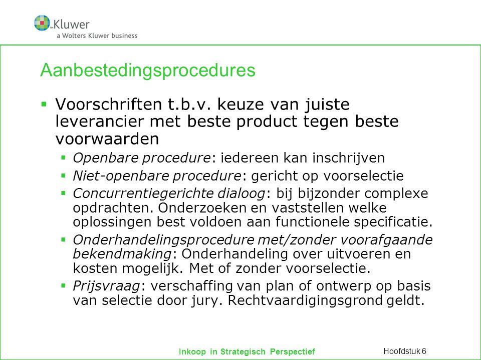 Inkoop in Strategisch Perspectief Aanbestedingsprocedures  Voorschriften t.b.v. keuze van juiste leverancier met beste product tegen beste voorwaarde