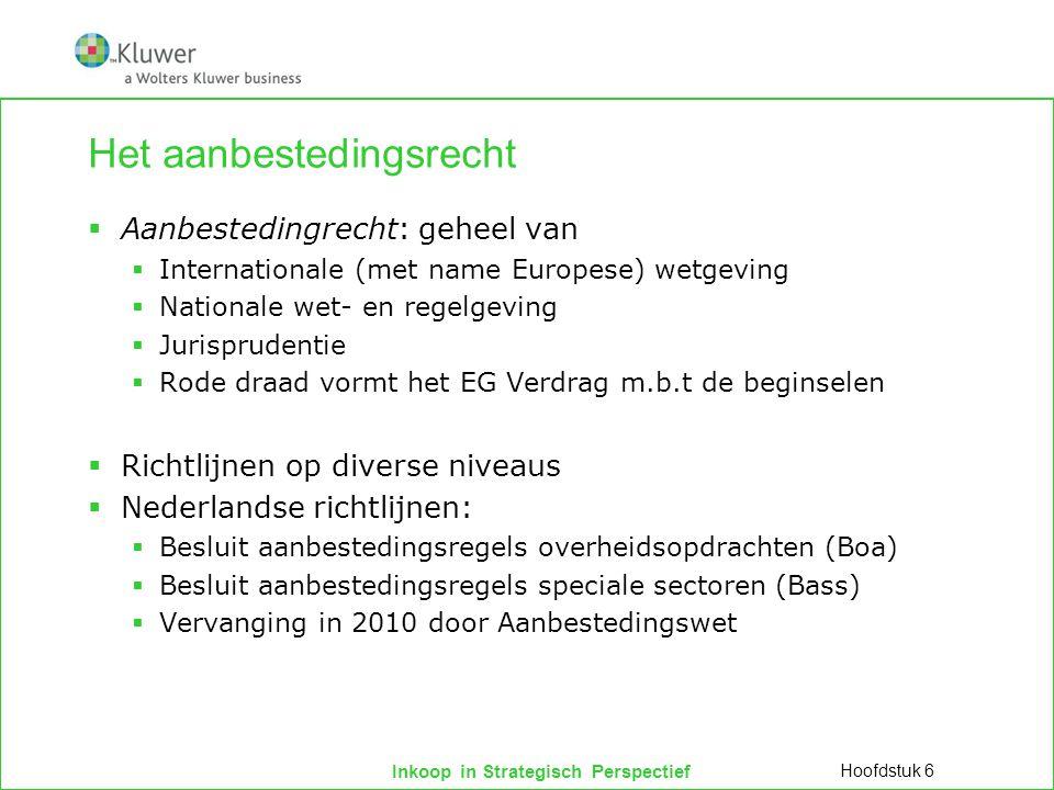 Inkoop in Strategisch Perspectief Het aanbestedingsrecht  Aanbestedingrecht: geheel van  Internationale (met name Europese) wetgeving  Nationale we