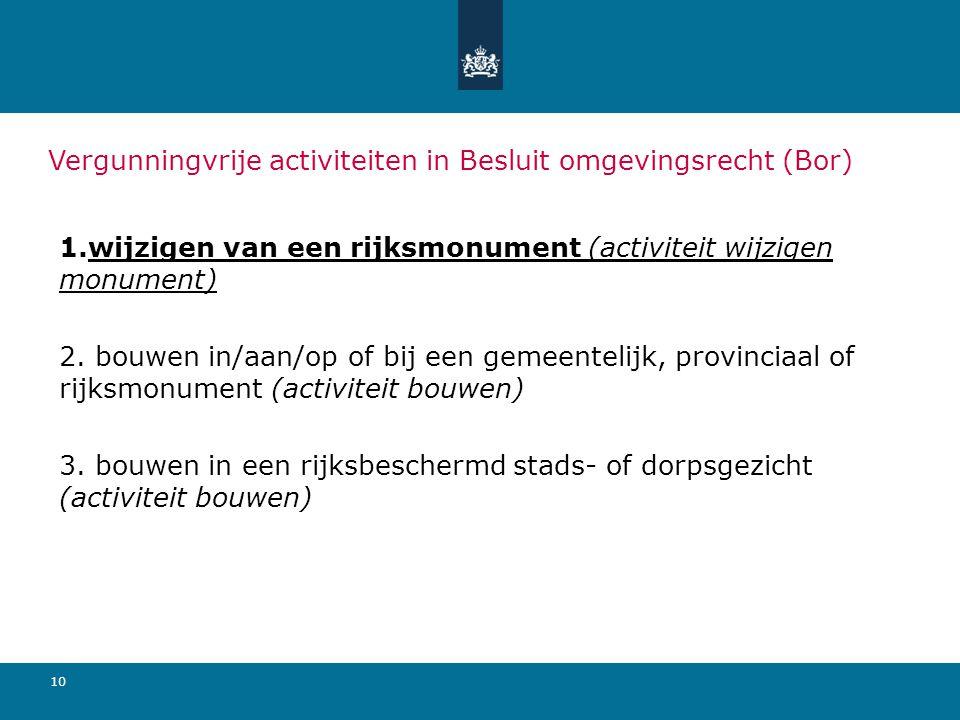 10 Vergunningvrije activiteiten in Besluit omgevingsrecht (Bor) 1.wijzigen van een rijksmonument (activiteit wijzigen monument) 2.