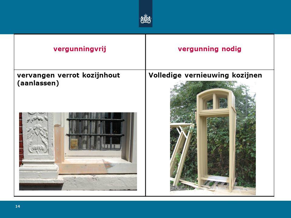 14 vergunningvrijvergunning nodig vervangen verrot kozijnhout (aanlassen) Volledige vernieuwing kozijnen