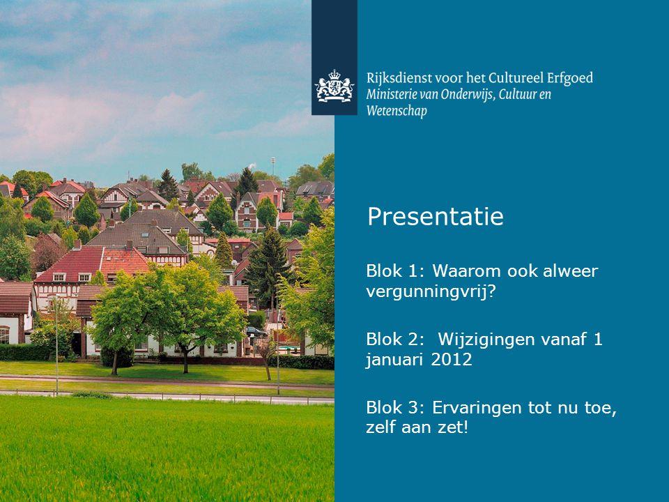 Presentatie Blok 1: Waarom ook alweer vergunningvrij.