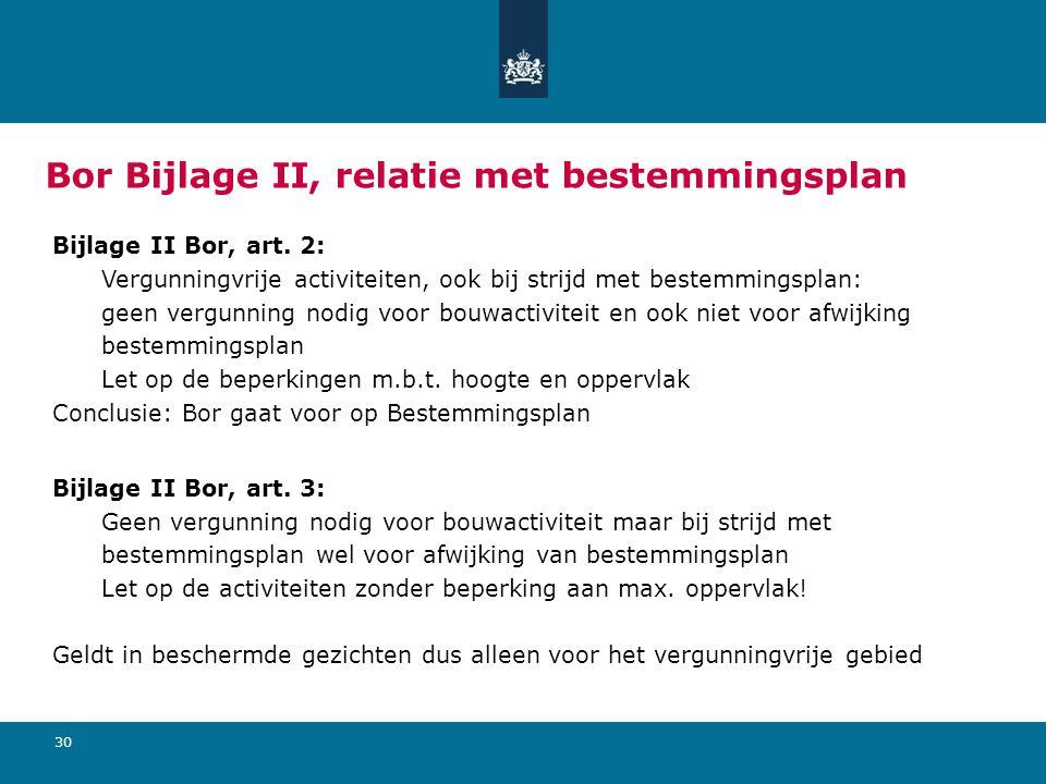 30 Bor Bijlage II, relatie met bestemmingsplan Bijlage II Bor, art.
