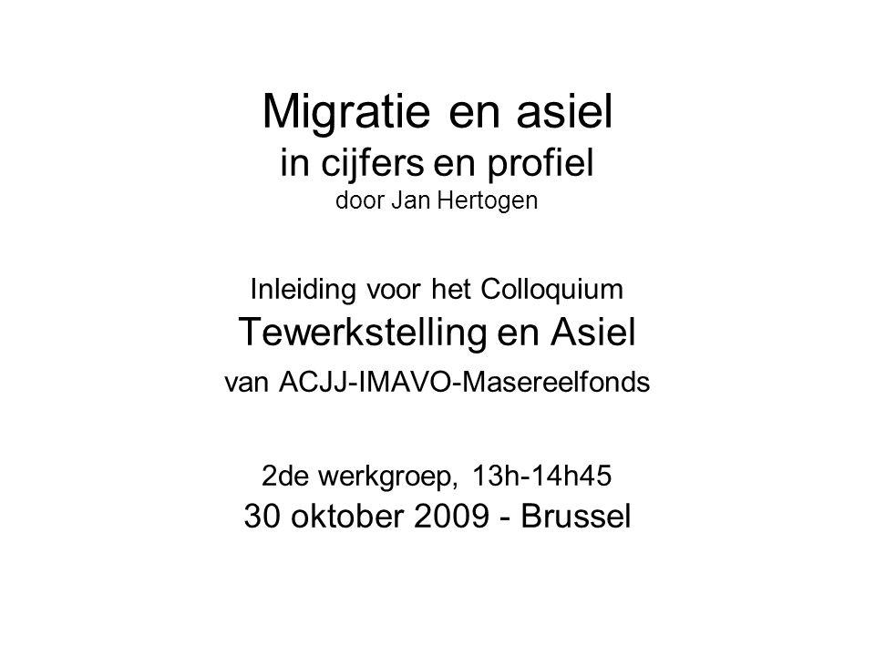 Migratie en asiel in cijfers en profiel door Jan Hertogen Inleiding voor het Colloquium Tewerkstelling en Asiel van ACJJ-IMAVO-Masereelfonds 2de werkg