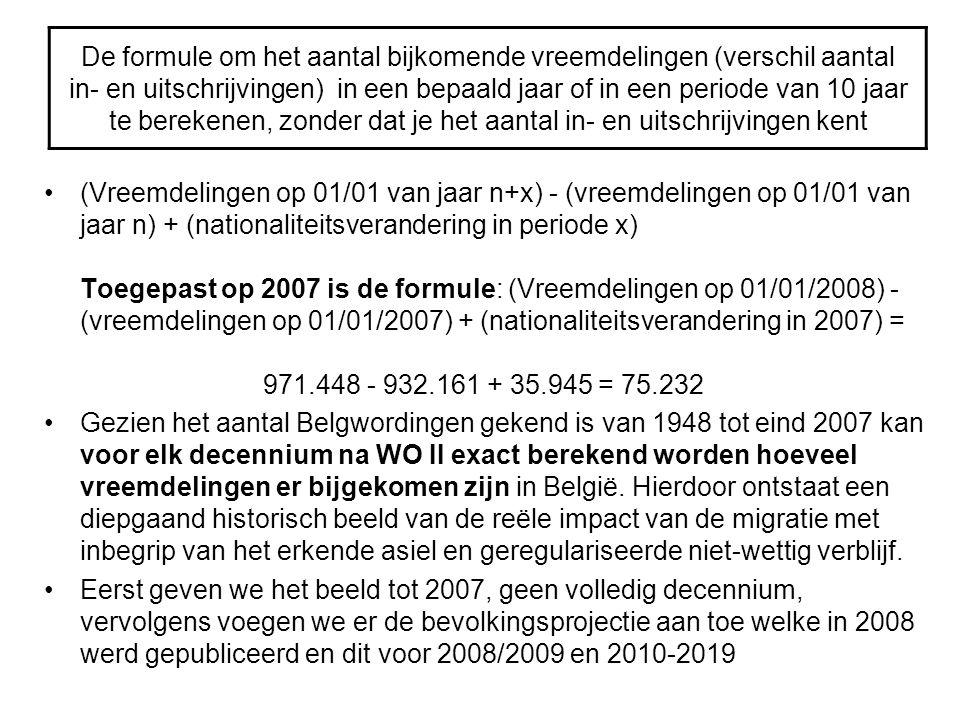 De formule om het aantal bijkomende vreemdelingen (verschil aantal in- en uitschrijvingen) in een bepaald jaar of in een periode van 10 jaar te bereke